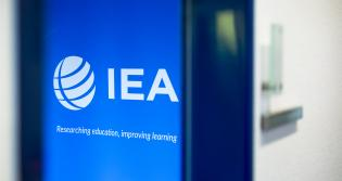 IEA logo on blue background