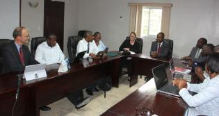 Oliver Neuschmidt presenting to the Ministry of Education in Haiti